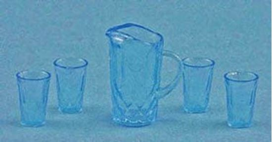 Picture of Blue Dollhouse Pitcher and tumblers
