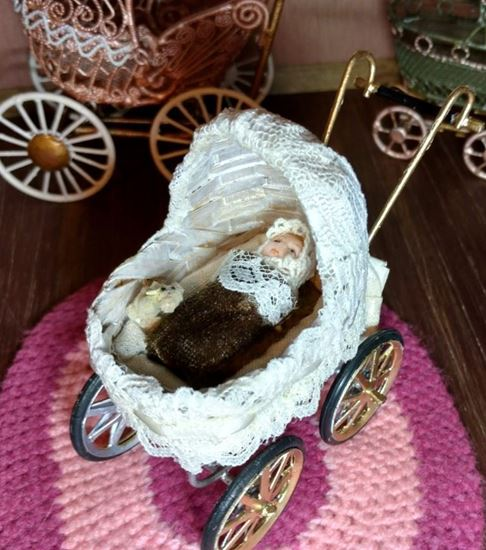 Picture of Dollhouse Baby Stroller Gold