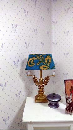 Picture of Dollhouse Brass Lamp W/fabric shade.