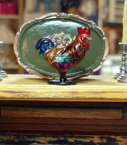 Picture of Dollhouse Miniature Old Pewter Rooster Copper/Pink Black Base -