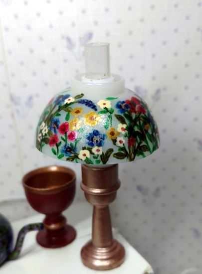 Picture of Dollhouse hand painted lamp gold and flowers.