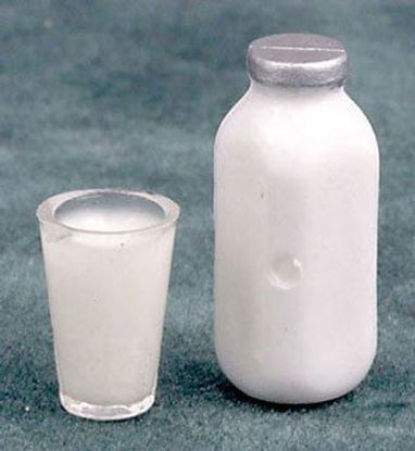 Picture of Dollhouse Milk Bottle with Glass of Milk