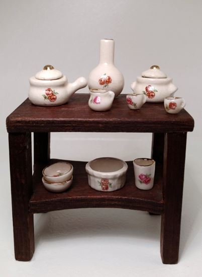 Picture of Dollhouse Miniature 9  piece set rose porcelain china