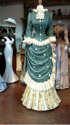 Picture of Dollhouse Miniature Victorian Dress Form  in Shades of Green and Beige