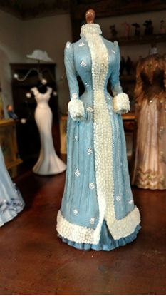 Picture of Dollhouse Miniature Victorian Dress Form  in Shades of Blue and Silver Dots