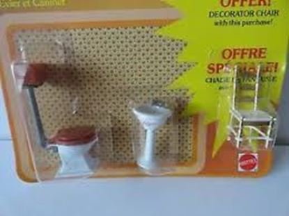 Picture of Vintage Mattel The Littles Half scale Toilet, Sink and Chair. Sealed.