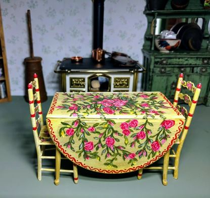 Picture of Chrysnbon Table and Chairs Hand Painted - yellow