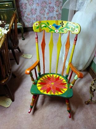 Picture of Dollhouse hand painted boho rocking chair.