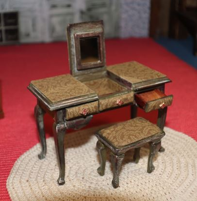 Picture of Miniature dollhouse vanity table and bench