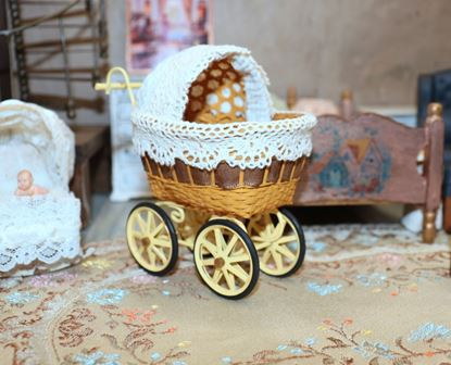 Picture of Dollhouse Baby Stroller Yellow/Tan