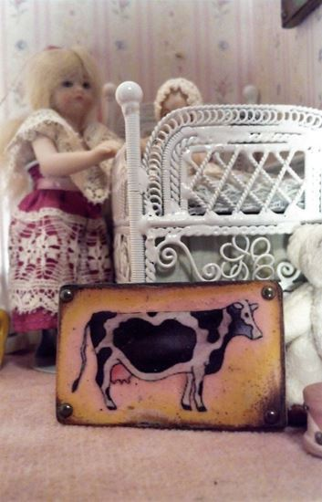 Picture of Cow Sign Photo on wood Dollhouse Miniature