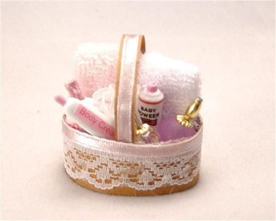 Picture of New Old Stock Dollhouse Bathroom Basket of toiletries