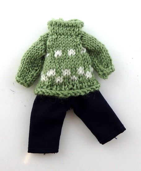 Picture of Dollhouse Child Outfit Green & Black