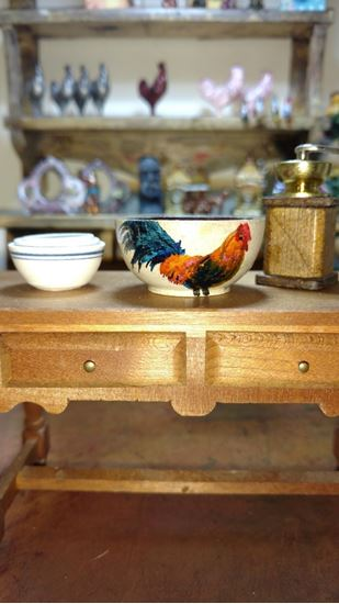 Picture of Dollhouse Miniature Rooster Mixing Bowl