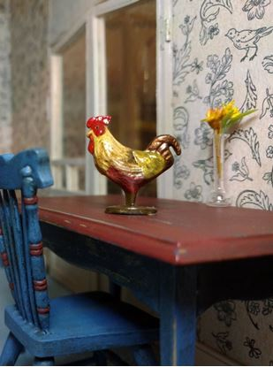 Picture of Dollhouse Miniature Old Pewter Rooster Beige/Brown