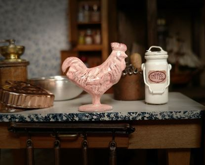 Picture of Dollhouse Miniature Pink Metal Rooster