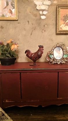 Picture of Dollhouse Miniature Rustic Red Metal Rooster