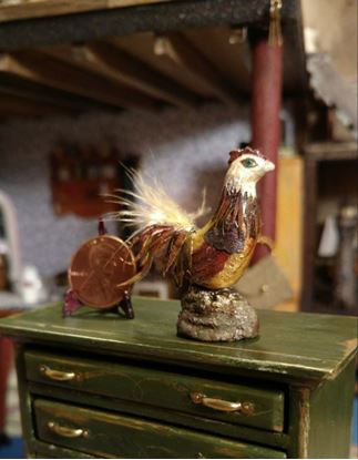 Picture of Dollhouse Handcrafted Rooster w/real tail feathers
