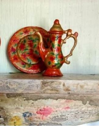 Picture of Dollhouse Miniature Chocolate Pot and Plate