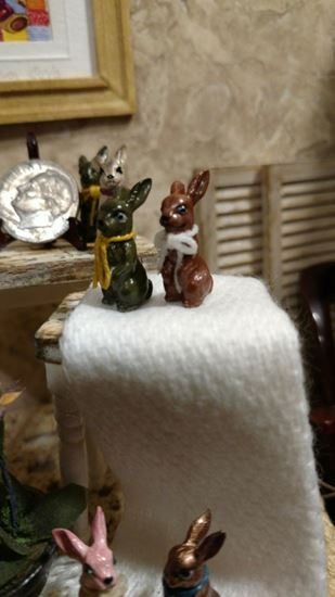 Picture of Dollhouse Metal Miniature Antiqued Green Bunny