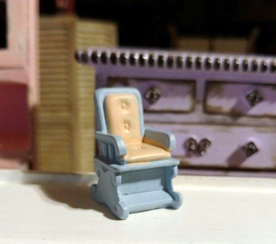 Picture of Dollhouse Miniature Resin Blue and Pink Chair 1:48 Scale