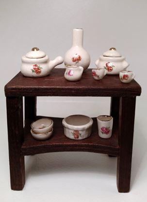 Picture of Dollhouse Miniature 9  piece set rose porcelain china