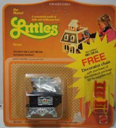 Picture of Vintage Mattel The Littles Half scale stove, and pots and one bonus chair. In sealed package.