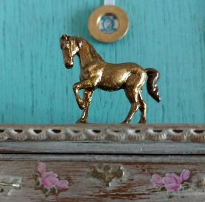 Picture of Dollhouse Old Pewter Horse Hand Painted Bronze