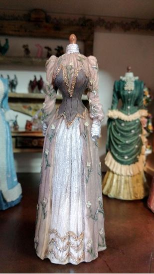Picture of Dollhouse Miniature Victorian Dress Form  in Browns, Silver and Gold
