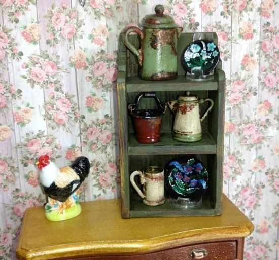 Picture of Dollhouse Rustic Shelf w/Accessories