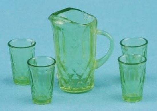 Picture of Green Dollhouse Pitcher and tumblers