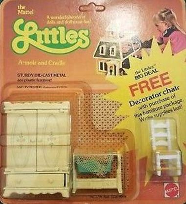 Picture of Vintage Mattel The Littles Half scale Armoire, Doll Cradle. ans Bonus Chair.
