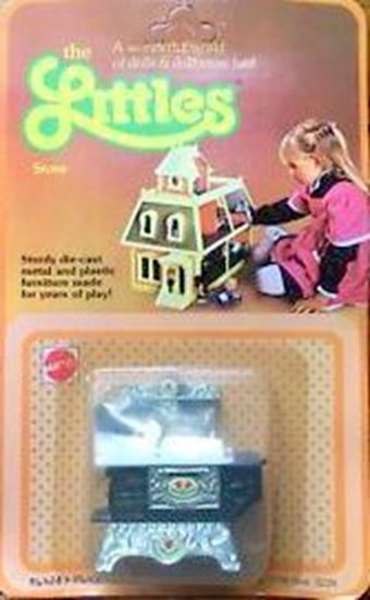 Picture of Vintage Mattel The Littles Half scale stove, and pots. In sealed package.
