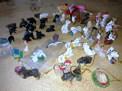 Picture of Animals, Birds, Dogs, and Pigs. Plus Dog Christmas Ornaments