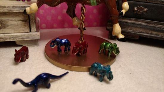Picture of Dollhouse Miniature Green Metal Elephant