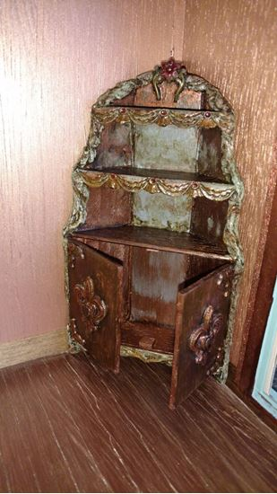 Picture of SOLD   Ruth's Custom Dollhouse Corner Cabinet