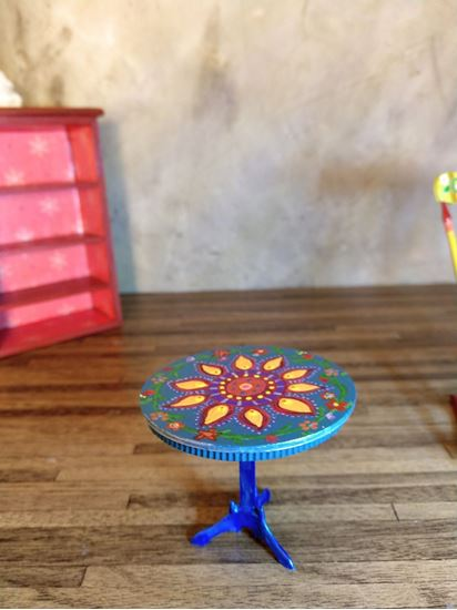 Picture of Dollhouse hand painted boho table