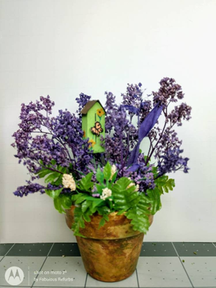 Picture of Large Flower Arrangement In Clay Pot