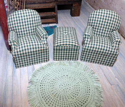 Picture of Bespaq Chairs, Ottoman, and circle crochet rug